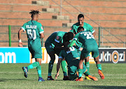 Emiliano Tade of AmaZulu celebrates goal with teammates during the Absa Premiership 2018/19 match between AmaZulu and Free State Stars at King Zwelithini Stadium, Durban on 19 August 2018.