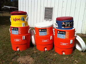 Photo: Water coolers stacked