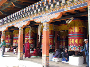 Photo: Prayer wheels are everywhere -- people are deeply religious.