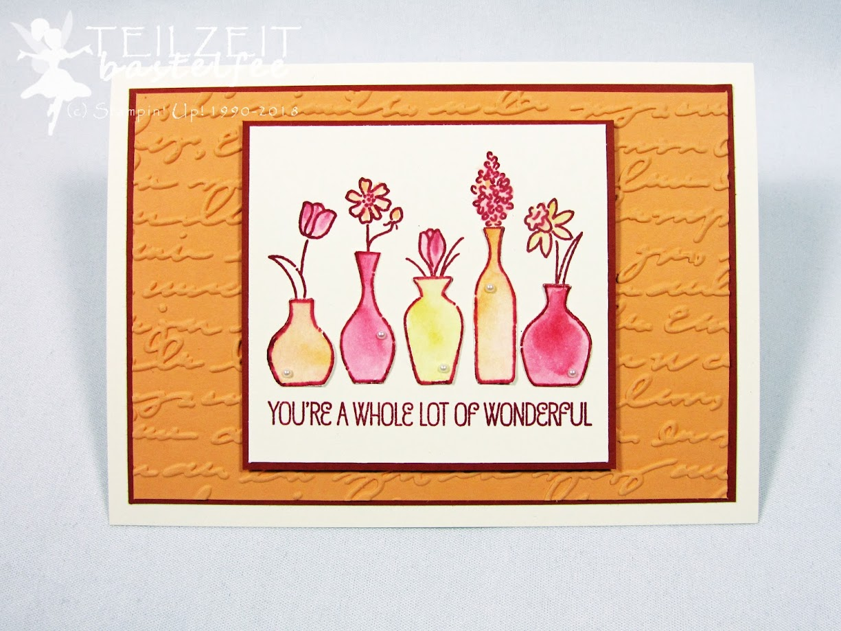 Stampin' Up! - IN{K}SPIRE_me Color Challenge #347, Embossing Folder, Vivid Vases, Aquarell
