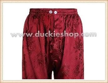 กางเกงใส่นอน ชุดนอนผู้ชายขายาวใส่สบาย ผ้าแพรจีนแท้ กางเกงแพรแท้ กางเกงแพรจีน เอวยางสีแดงเลือดหมู