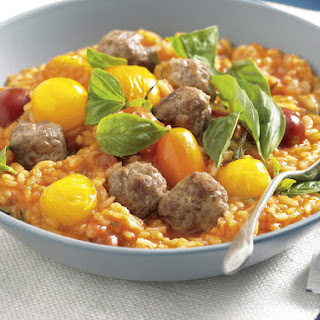 Tomato and Mini Meatball Risotto.