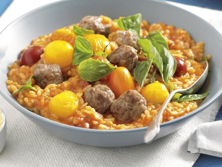 Tomato and Mini Meatball Risotto Recipe