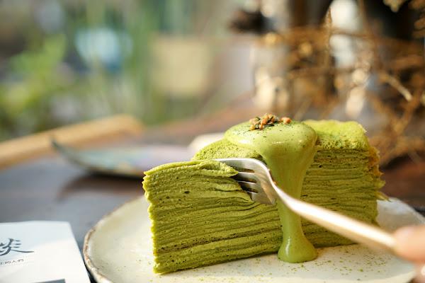 超抹的京都小山園抹茶千層蛋糕 沒有特別計畫caf'e 淡水下午茶 手作甜點 巷弄美食 千層蛋糕推薦