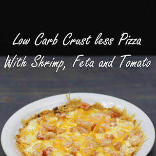 Low Carb Crust less Pizza With Shrimp, Feta and Tomato.