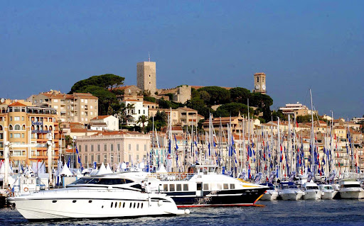 cannes.jpg - The harbor and old quarter of Cannes, France.