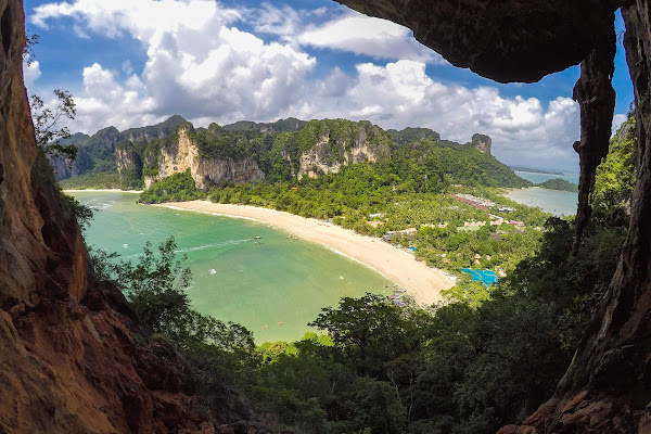Spectacular view from viewpoint to Railay West and East Beach