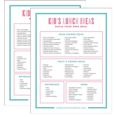 Kids School Lunches Printable