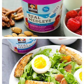 Quaker Real Medleys Yogurt Cups And Soft Boiled Eggs.