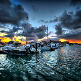 Mindarie Marina Perth WA by Loredana  Smith - Travel Locations Landmarks ( harbour · solitude · yellow · travel · beauty · landscape · birds · romance · escape · colour · tranquil · adventure · sky · nature · clean · ripples · idyllic · sail · marina · gold · climate · western australia · water · clouds · tourism · leisure · relaxation · vacations · paradise · enjoyment · tourist · blue · sunset · view · fishing · culture · panoramic · delete )