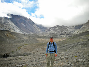 Photo: Me - kid in a candy store. The lava dome(s) behind me formed in the decades after the 1980 eruption. Crater Glacier is up there too, but it blends in with the grayness.