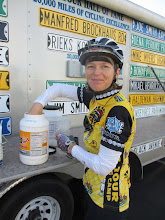 Photo: Thea, fueling up to ride to Ludlow