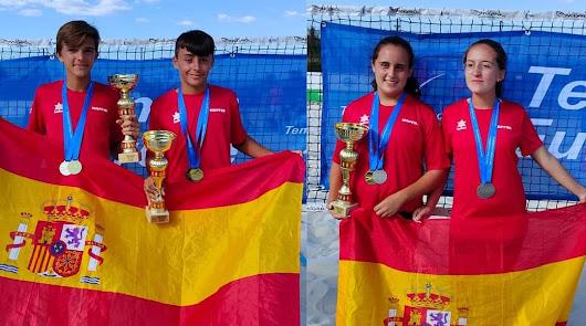 Un veratense y una pulpileña se hacen con el oro europeo de tenis playa Sub14