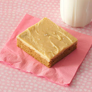 Spice Cake Bars with Salted Caramel Icing.