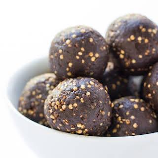 5-Ingredient Chocolate + Tahini Quinoa Energy Bites.