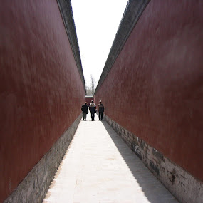 Three man in Beijing by Doram Jacoby - Landscapes Travel ( 3, red, wal, three, summer, men, palace, beijing, china )