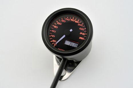 DAYTONA digital speedo VELONA, black, Ø 48mm, scale 260 km/h