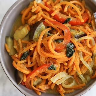 Green Curry Sweet Potato Noodles with Eggplant.