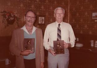 "Photo: Left: Felton Lemke, HFD's first Chief Right: L.B. ""Jig"" Smith"