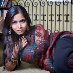 Indian Glamour by Kim Wilson - People Portraits of Women ( interior, model, ethnic, photograph, indoor, colorful, beautiful, indian, image, traditional, adult, exotic, woman20s, pose, sexy, couch, red, female, horizontal, woman, inside, wardrobe, saree, natural )