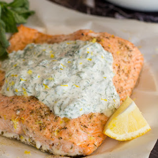Baked Salmon with Herbed Yogurt