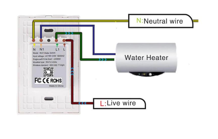 công tắc bình nước nóng thông minh lắp đặt đơn giản