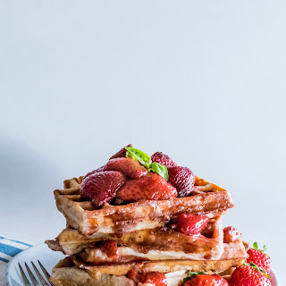 Strawberry Waffles With Balsamic-roasted Strawberries.