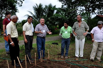 Photo: Roberto Tinoco (middle), INTA, Costa Rica talking about seed production at the SRI demonstration plot  [photo by Erika Styger]
