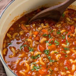Beef and Tomato Macaroni Soup.