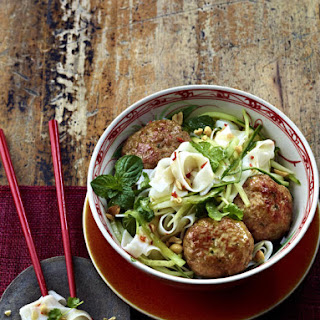 Thai Chicken Meatballs with Rice Noodle Salad