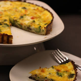 Vegetable Quiche featuring Cauliflower Crust.