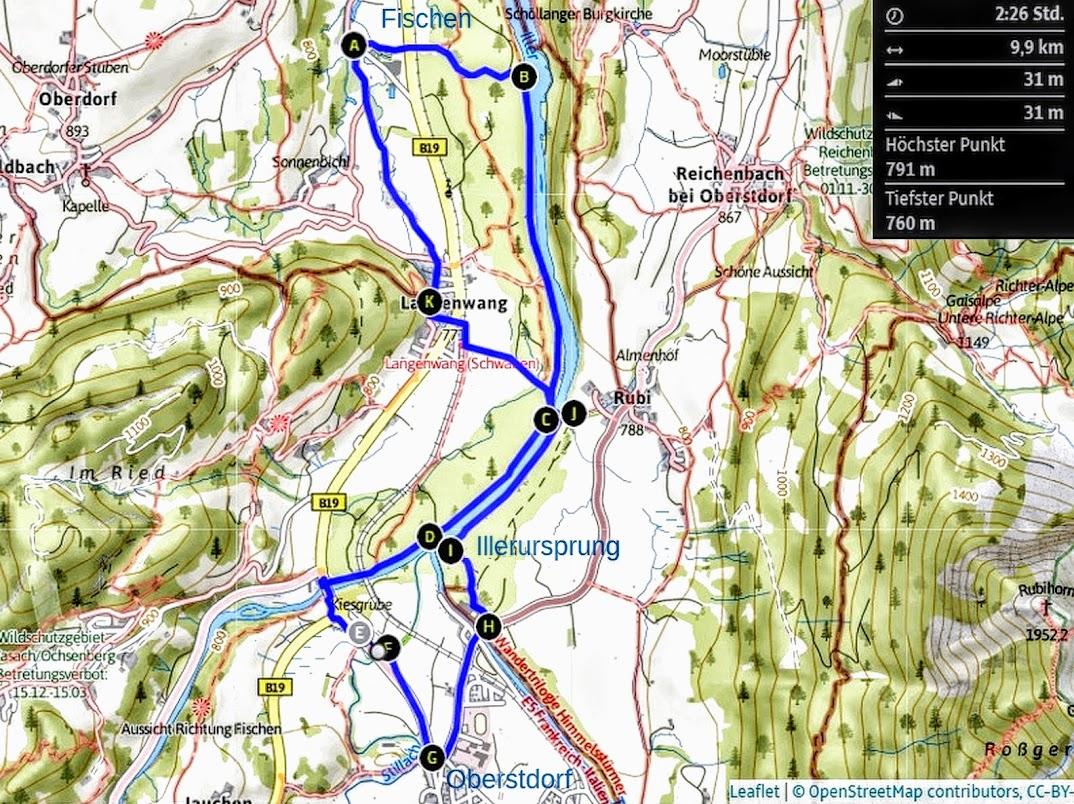 Karte Tour Illerursprung von Fischen oder Oberstdorf Allgäu