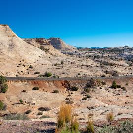 Most beautiful road in Utah by Bert Templeton - Landscapes Mountains & Hills ( sky, blue sky, truck, scenic, utah, motorcycle, beauitful, road, car, capitol reef, capital reef, highway, desert, drive, park,  )