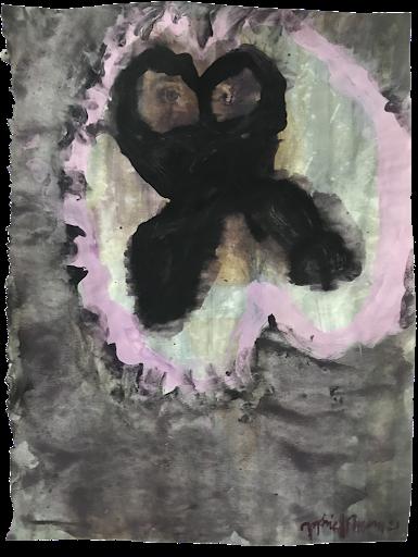 percer_l_obscurite_sophie_lormeau_serie_matiere_rose_cerveau_mind_corps_esprit_peinture_acrylique_papier_magazine_papillon_tache_nuit_portrait_rose_noir_femme_artiste_memoire_art_contemporain_singulier_emergent_collection_©_adagp_paris_2021