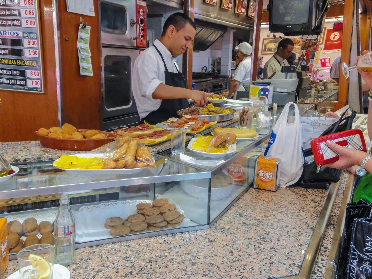 A restaurant inside the market offers a variety of tapas