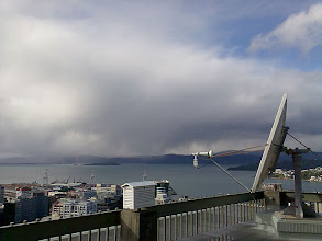 Photo: Cold showers move over Wellington Harbour, with low snow flurries on the hills - 5-Jul-08