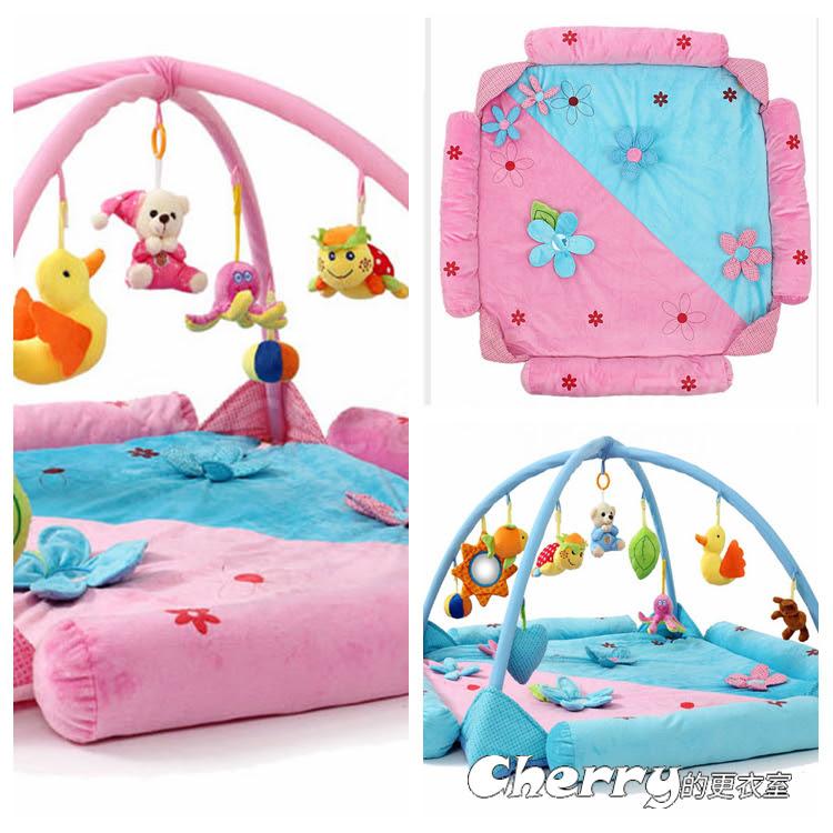 嬰兒音樂遊戲墊遊戲毯爬行墊健身架益智玩具/花朵款/適合0-2歲寶寶