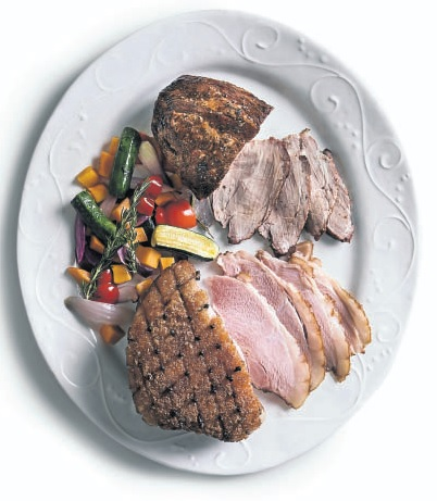 Gammon, roast pork rib eye and Mediterranean vegetables from Woolworths.