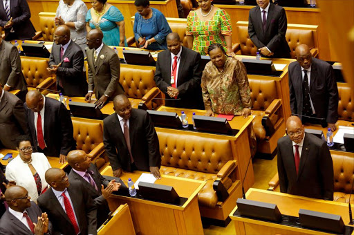 President Jacob Zuma (R) before his state of the nation address in parliament in Cape Town. File Photo.