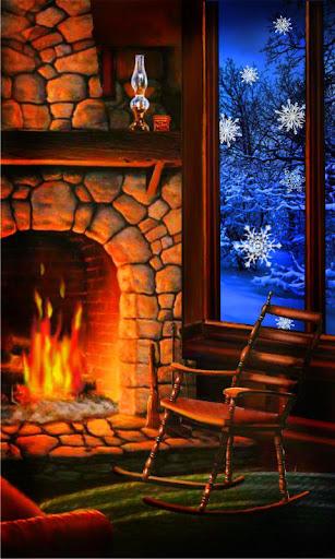 Winter Fireplace liv wallpaper