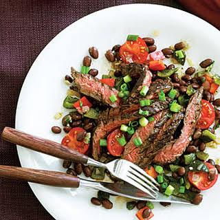 Ancho-Marinated Skirt Steak with Warm Black Bean Salad.