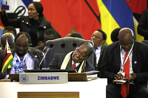 Zimbabwe's President Robert Mugabe takes a nap during proceedings at the Southern African Development Community summit in Pretoria.