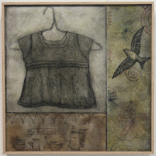 """Photo: Fill the Cup, 17 x 17"""", encaustic collage"""