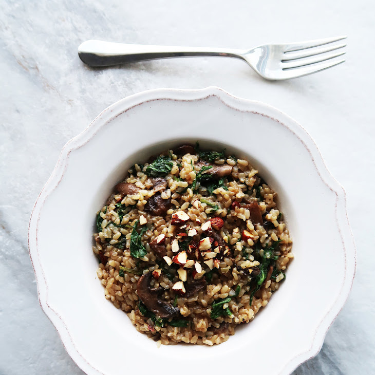 Brown Rice Pilaf with Mushrooms, Kale, and Almonds
