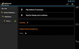 Screenshot of House Cleaning List