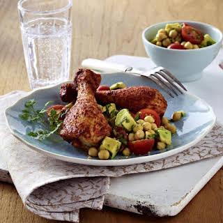 Glazed Chicken Drumsticks with Chickpea Salad.