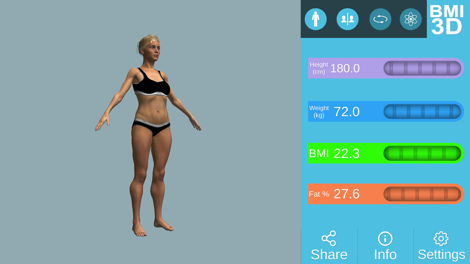BMI 3D - Body Mass Index in 3D- screenshot