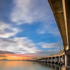 Penang bridge by Ah Wei (Lung Wei) - Landscapes Sunsets & Sunrises ( george town, tokina 11-16mm f2.8, penang bridge, penang island, malaysia, sunlight, nikon d7000, george town penang, sunset, tokina 11-16mm, penang, long exposure, sunshine, sunrise, bridge, nikon, 10 stop nd filter, nd1000 )