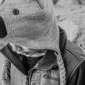 Sometimes Being A brother is better then being a superhero by Daniel Peiffer - People Fine Art ( child. winter, b&w, brother, beach, people, hat, kid )