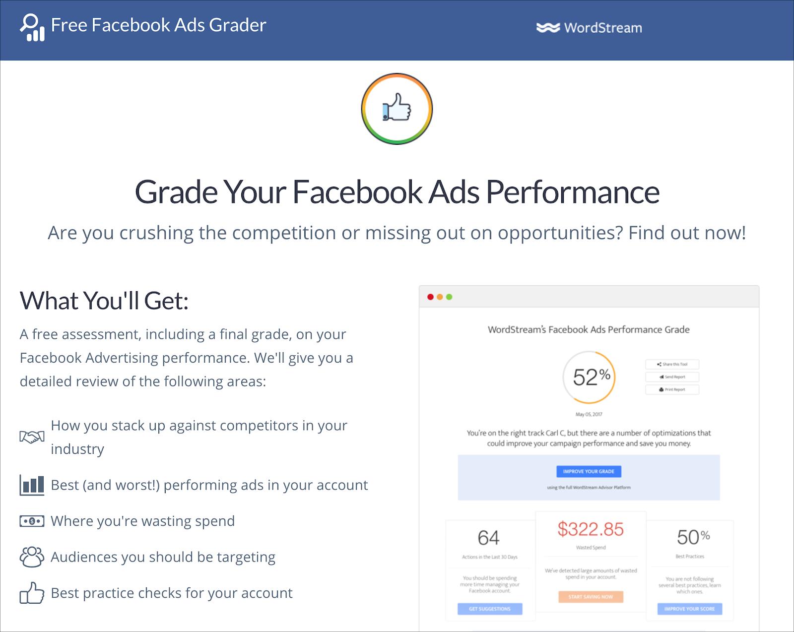 Wordstream Facebook Ads Grader